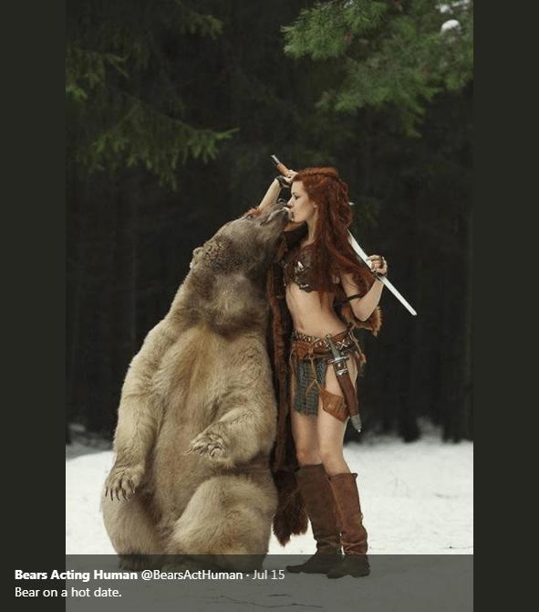 Snout - Bears Acting Human @BearsActHuman Jul 15 Bear on a hot date.