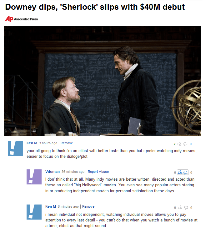 """Text - Downey dips, 'Sherlock' slips with $40M debut Ap Associated Press Ken M 3 hours ago 