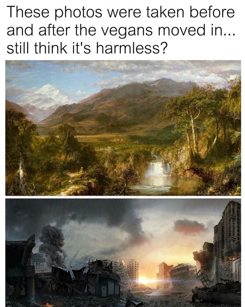 Funny meme about vegans, incorporates classic art landscape.