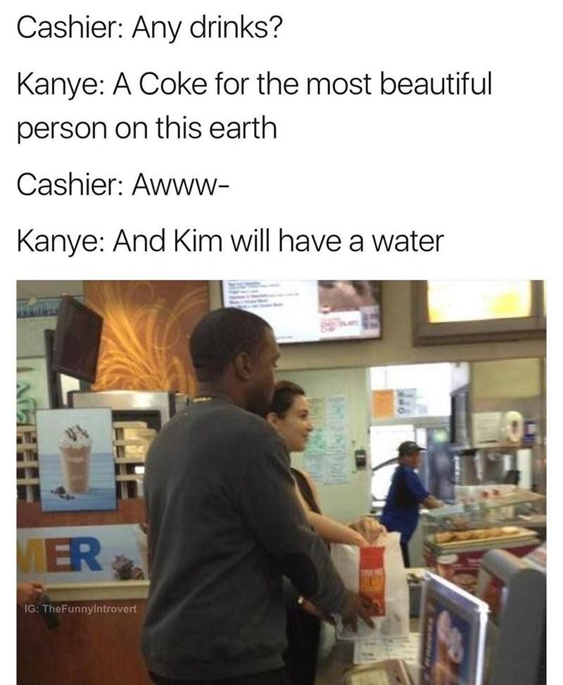 Funny meme about Kanye west ordering at mcdonalds.
