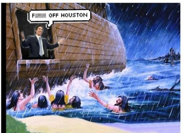 Brutal meme of Joel Osteen as Noah on the Ark and telling Houston to f-off