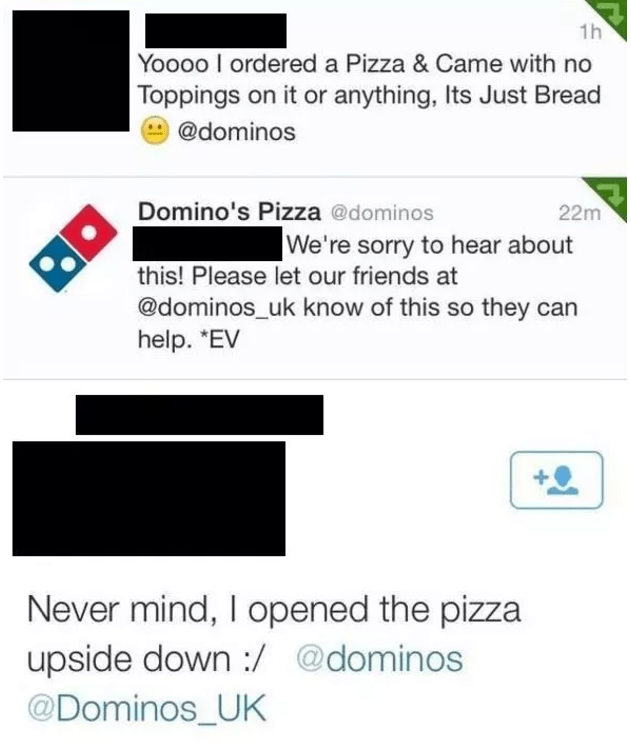 Funny fail of someone who opened up their pizza upside down.