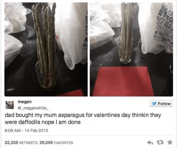 Very funny fail of dad who got mom asparagus for valentines thinking they would open up like daffodils