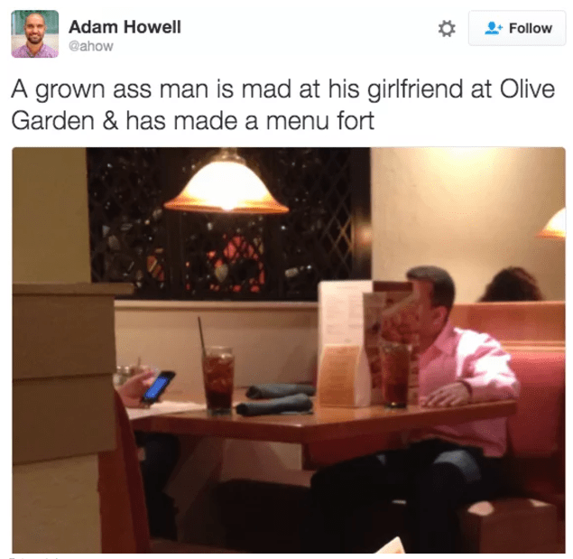 Funny WIN of man mad at his girlfriend at Olive Garden made a menu fort