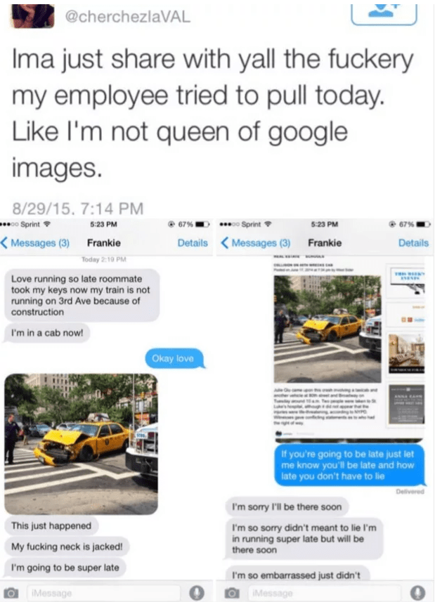 Tweet of someone who tried to post a pic of crashed cab from google images to excuse being late to work.