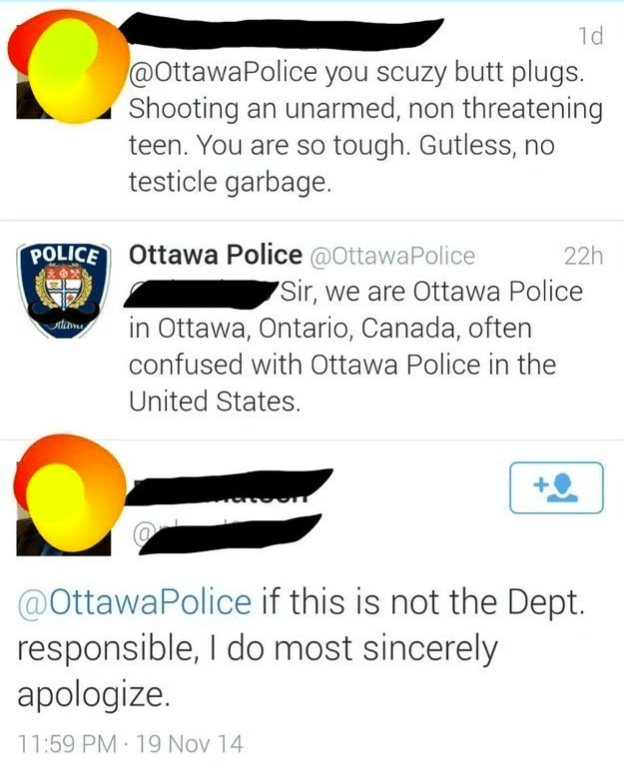 Funny fail of someone cursing out the wrong Police department in Canada