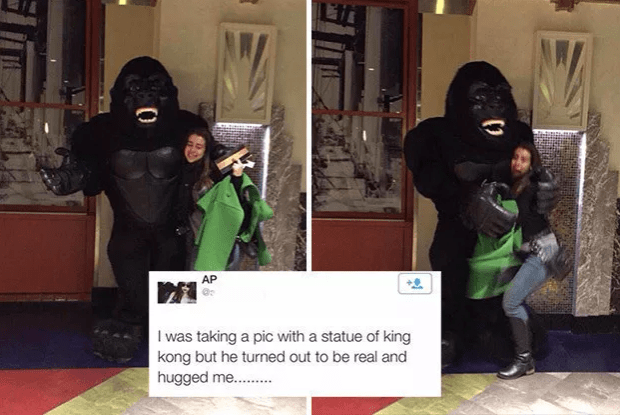 Funny fail of taking pic of statue of King Kong which was actually a person dressed up who then hugged her.