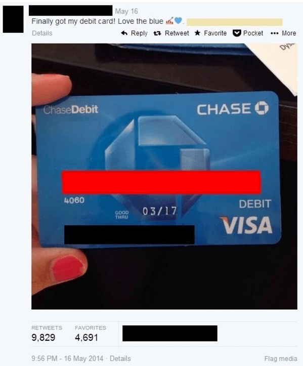 Funny fail of someone posting their debit card on Twitter to show off the color, forgot to block numbers.
