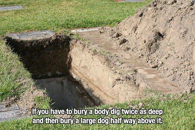 empty grave dug in grassy land life hack meme