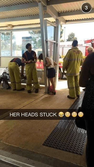 Funny fail of girl with head stuck in building