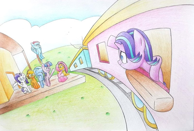applejack the great and powerful trixie starlight glimmer twilight sparkle pinkie pie rarity mustached bain fluttershy rainbow dash - 9070385664