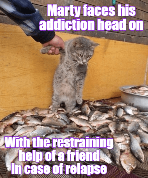 Photo caption - Marty faces his addiction head on With the restraining help ofa friend in case of relapse