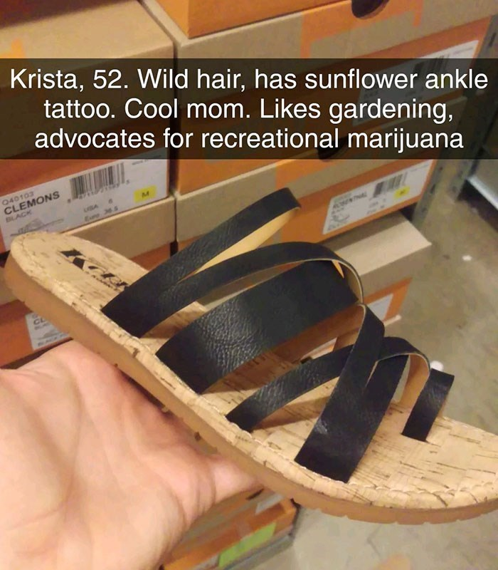 Footwear - Krista, 52. Wild hair, has sunflower ankle tattoo. Cool mom. Likes gardening, advocates for recreational marijuana Q40103 CLEMONS BLACK BA ww
