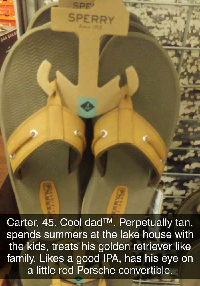 Footwear - SPE SPERRY Carter, 45. Cool dadTM. Perpetually tan, spends summers at the lake house with the kids, treats his golden retriever like family. Likes a good IPA, has his eye on a little red Porsche convertible.