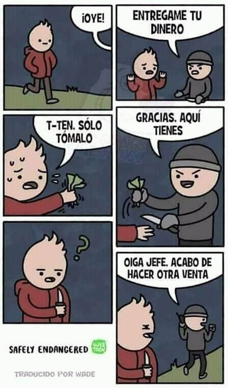 un chico quiere vender cuchillos