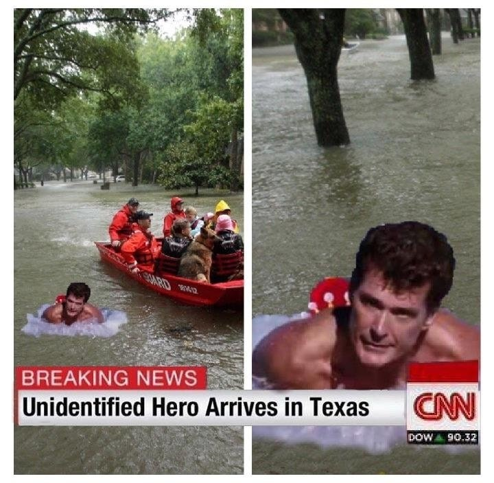 dank meme about David Hasselhoff as a lifeguard helping during hurricane Harvey