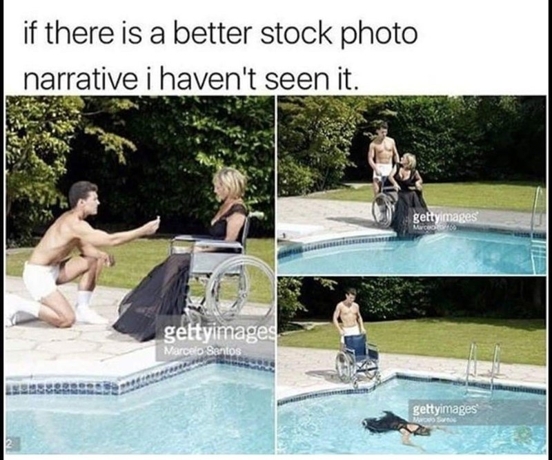 dank meme of stock photos depicting man proposing to woman in wheelchair then drowning her