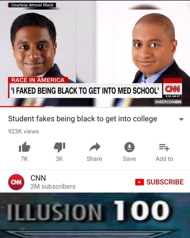 dank meme about student faking being black by having maxed out illusion skill