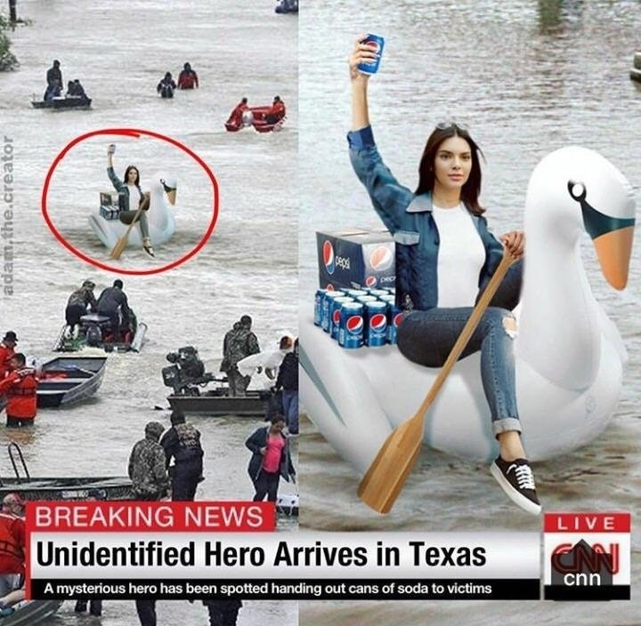 dank meme about Kendall Jenner showing up with Pepsi cans to help during Hurricane Harvey