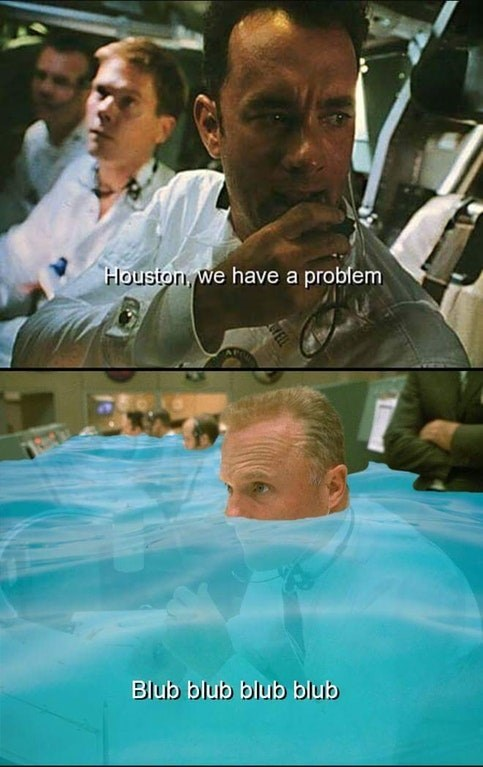 dank meme about hurricane Harvey drowning the control room in Apollo 13