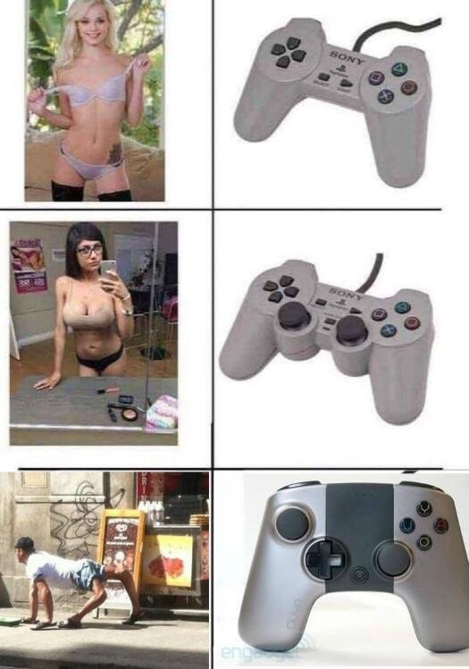 dank meme about video game controllers evolving