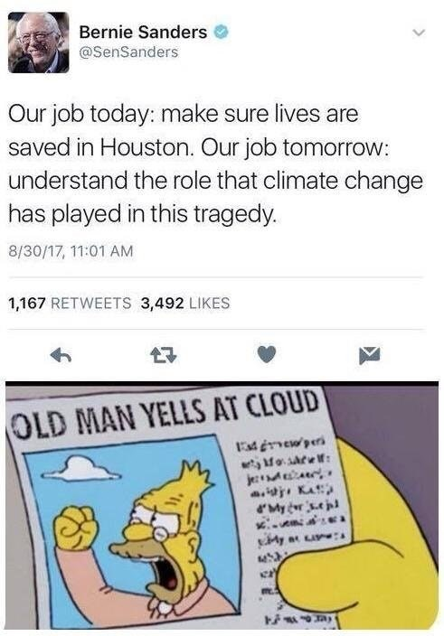 dank meme comparing Bernie Sanders talking about climate change to Simpsons headline about yelling at clouds