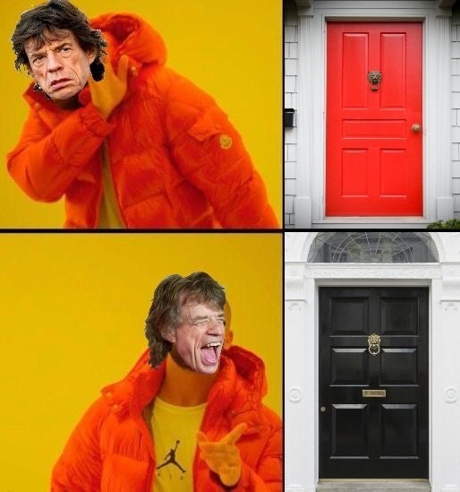Drake Hotline meme about Mick Jagger seeing a red door and wanting to paint it black