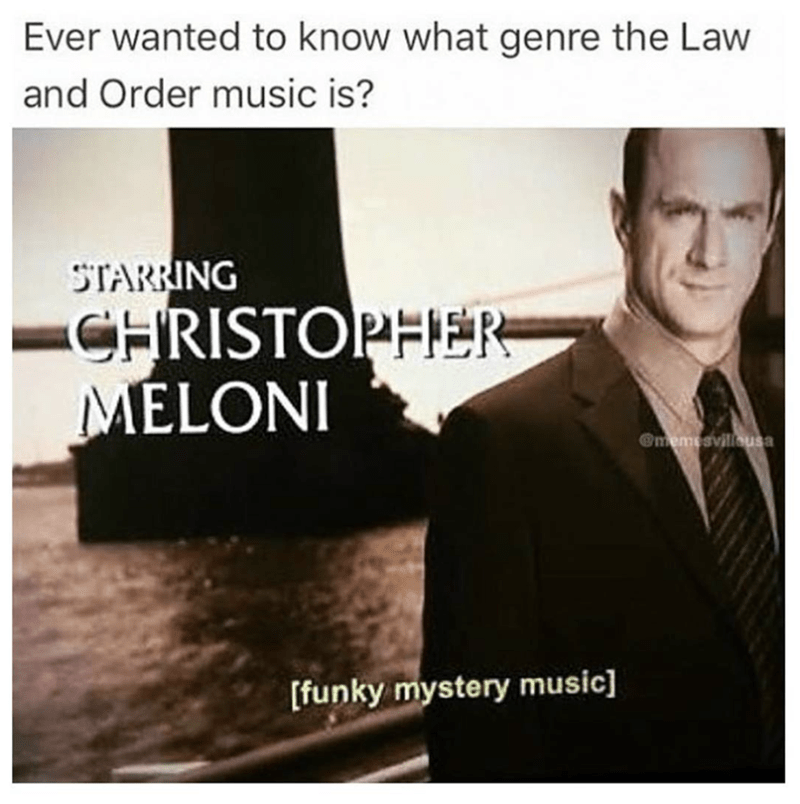 meme - Text - Ever wanted to know what genre the Law and Order music is? STARRING CHRISTOPHER MELONI @memesvilleusa [funky mystery music]