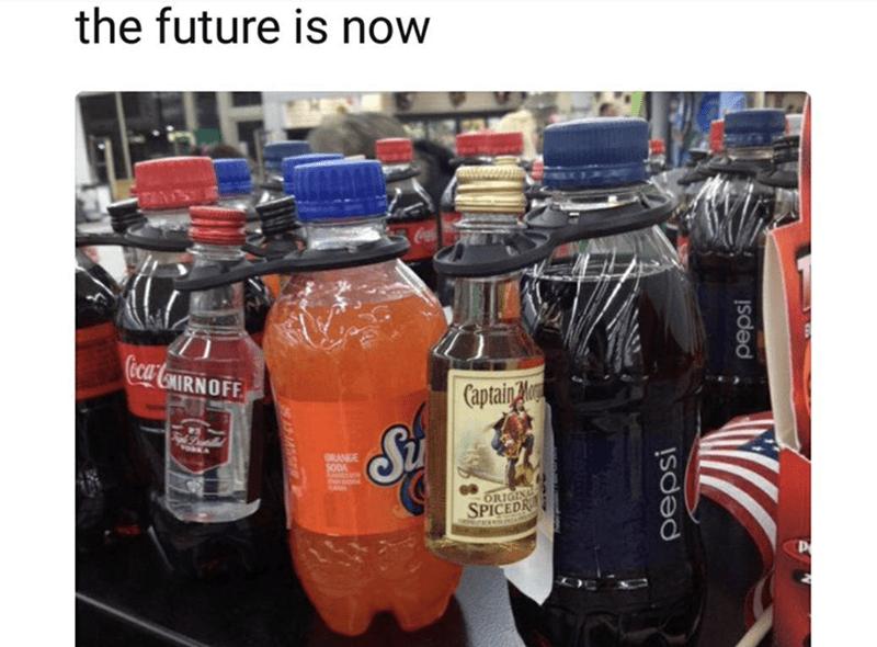 meme - Product - the future is now Ceca CONIRNOFF Captain A Si ORANGE S0OA ORIGIN SPICEDR pepsi pepsi