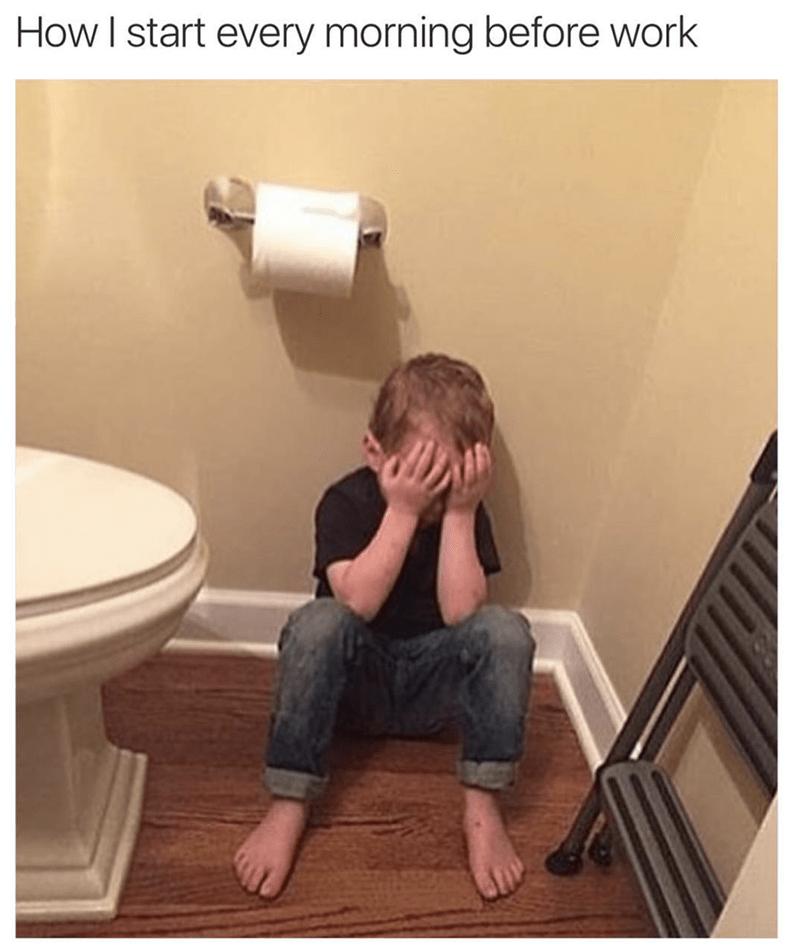 meme - Toilet - How I start every morning before work