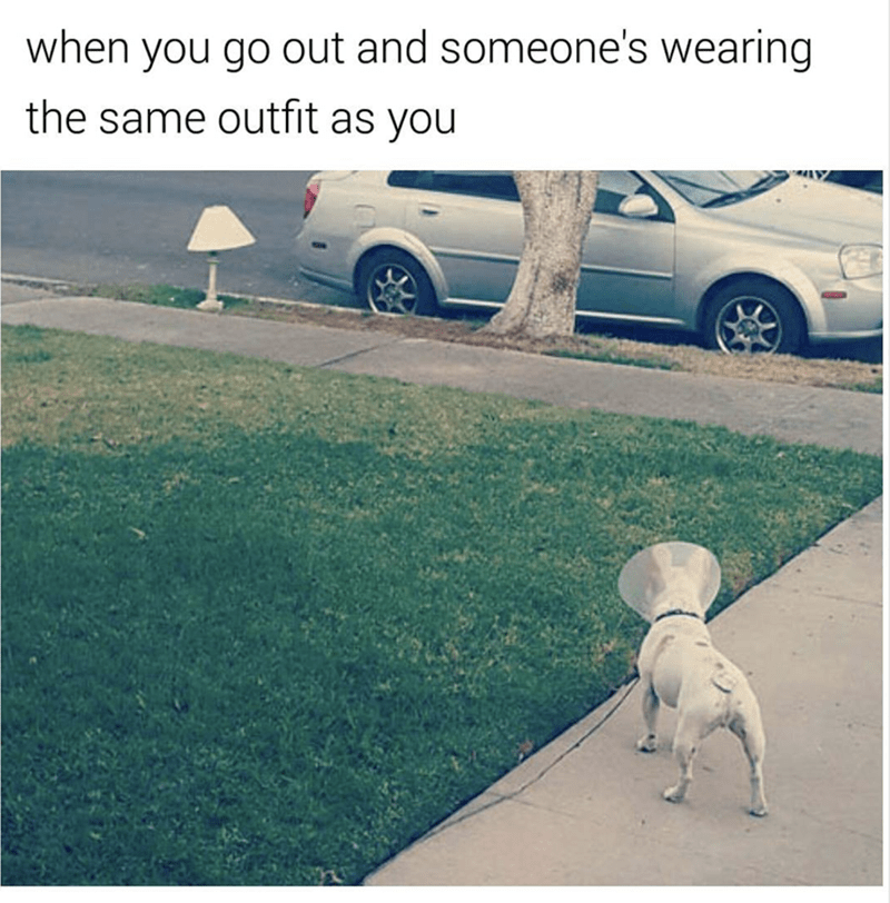 meme - Grass - when you go out and someone's wearing the same outfit as you