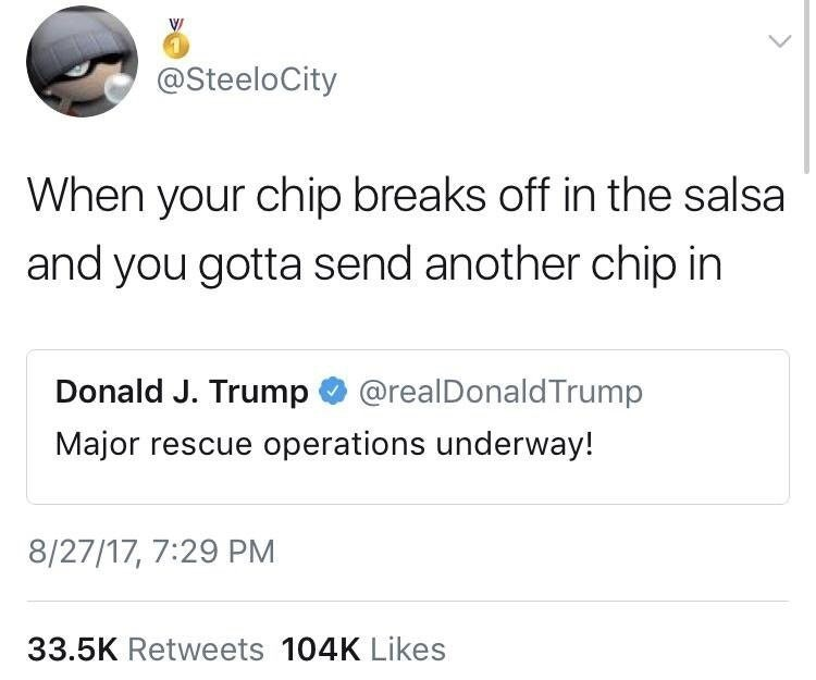 Funny twitter meme about donald trump, chips and salsa.