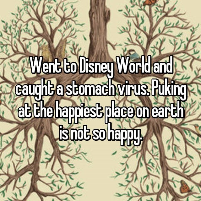 Tree - Went to Disney World and caughta stomach virusPuking atthe happiest place on earth isnot so happy