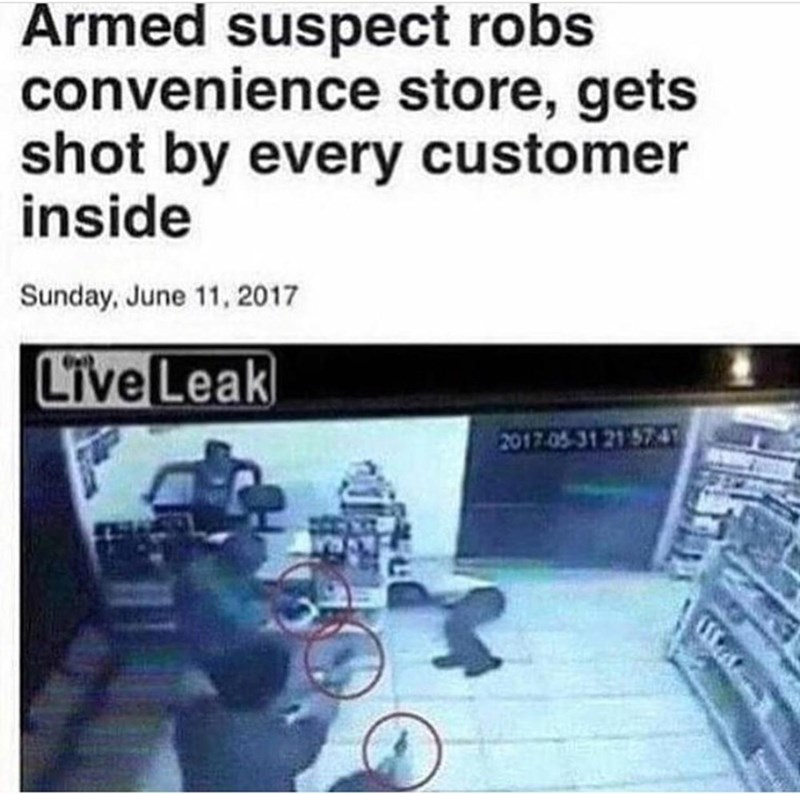funny article about an armed robber getting shot by every single customer