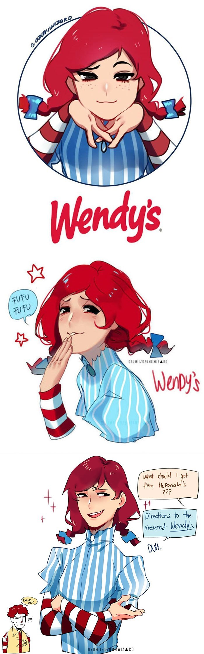 Cartoon - Wendy's FUFU 刊刊 OZUMI/0ZUMWIZARD WerDy's Wrat chould I get from McPonald's ??? tt Directions to the nearest Wendy's DUH. Excue OZUMII/021MWIZARD