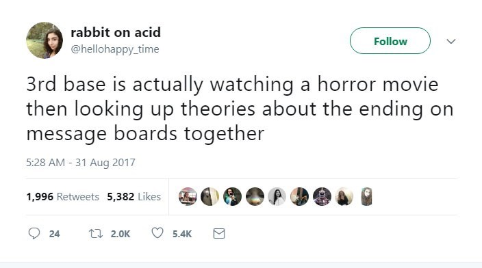 Text - rabbit on acid Follow @hellohappy time 3rd base is actually watching a horror movie then looking up theories about the ending on message boards together 5:28 AM - 31 Aug 2017 1,996 Retweets 5,382 Likes t2.0K 24 5.4K