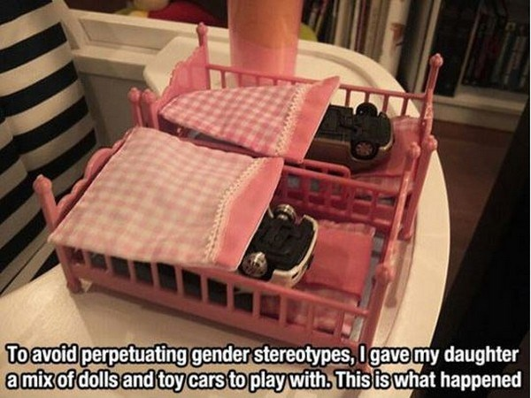 Product - Toavoid perpetuating gender stereotypes,0gavemy daughter amix of dolls and toy cars toplay with. This is what happened