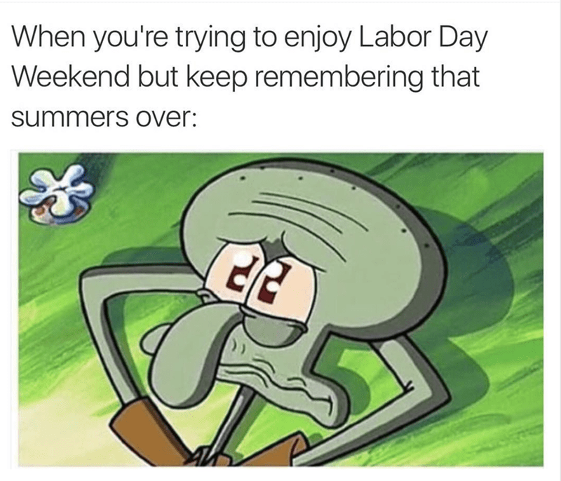 work meme - Cartoon - When you're trying to enjoy Labor Day Weekend but keep remembering that summers over: