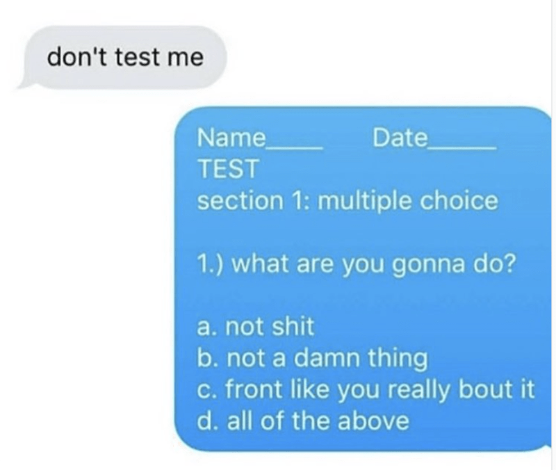 work meme - Text - don't test me Name Date TEST section 1: multiple choice 1.) what are you gonna do? a.not shit b. not a damn thing c. front like you really bout it d. all of the above