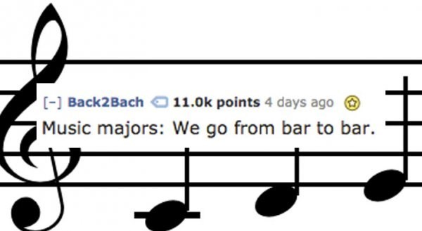 Text - [-] Back2Bach11.0k points 4 days ago Music majors: We go from bar to bar.