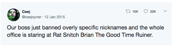Text - Ceej t7 10K 22K @ceejoyner · 12 Jan 2015 Our boss just banned overly specific nicknames and the whole office is staring at Rat Snitch Brian The Good Time Ruiner.