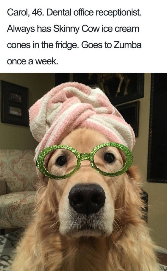 golden retriever wearing sparkly green glasses and pink towel on head - about a dental office receptionist