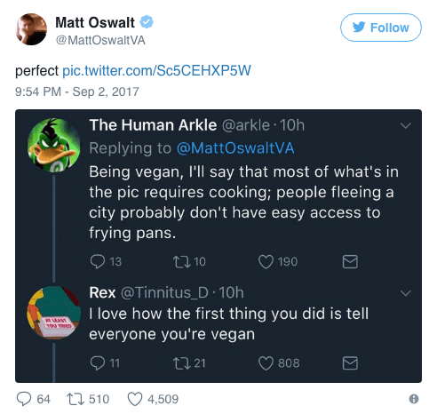 Text - Matt Oswalt Follow @MattOswaltVA perfect pic.twitter.com/Sc5CEHXP5W 9:54 PM -Sep 2, 2017 The Human Arkle @arkle 10h Replying to @MattOswaltVA Being vegan, I'll say that most of what's in the pic requires cooking; people fleeing a city probably don't have easy access to frying pans. t10 190 13 Rex @Tinnitus_D 10h I love how the first thing you did is tell everyone you're vegan 11 t21 808 t510 64 4,509