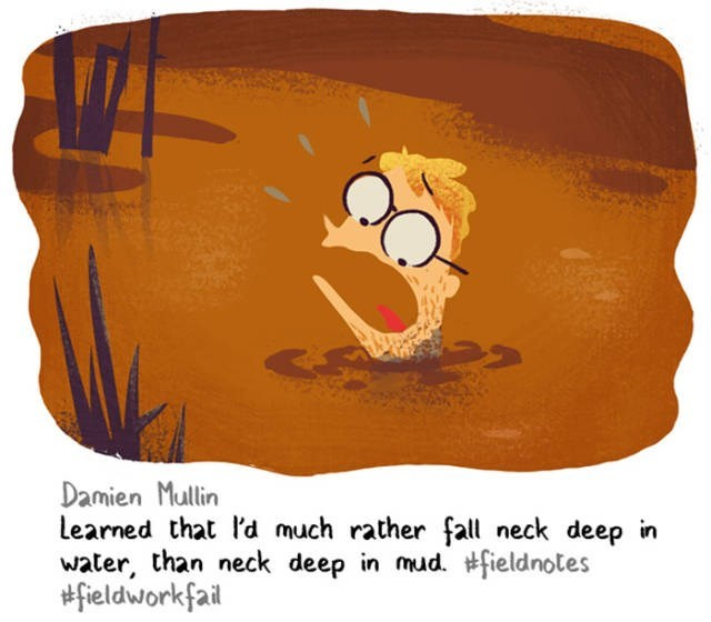 Orange - Damien Mullin learned that l'd much rather fall neck deep in water, than neck deep in mud. #fieldnotes #fieldworkfail