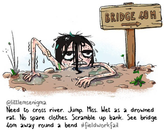 Cartoon - BRIDGE 40 M elittlemsenigma Need to cross river. Jump. Miss. Wet as a drowned rat. No spare clothes Scramble up bank. See bridge 4om away round a bend #fieldworkfail