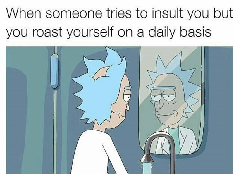 Meme of when someone tries to insult you but you roast yourself on a daily basis