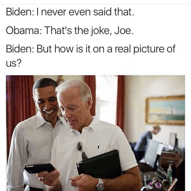 Funny meme of Biden not understanding himself on a meme.