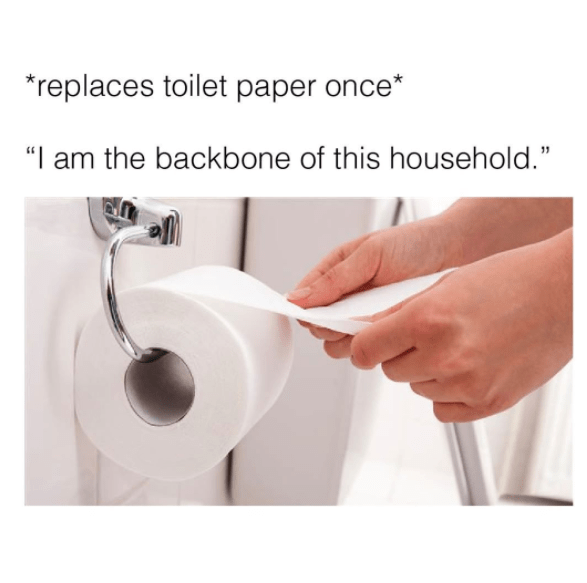 Meme about replacing the toilet paper and feeling like the backbone of the house.