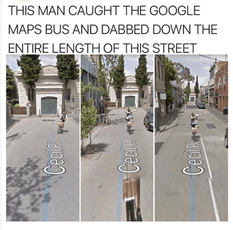 Man behind the Google maps bus.