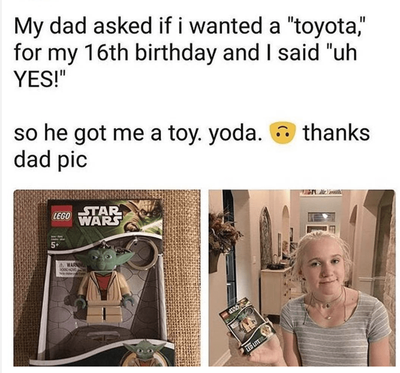 girl gets Toy Yoda instead of Toyota for her birthday